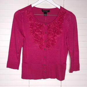 WHBM Pink Rose Embellished Snap Front Cardigan
